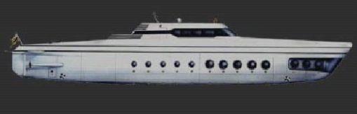 sleek, silver 213 feet long Phoenix 1000 personal luxury submarine