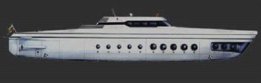 sleek, silver 213 feet long Phoenix 1000 personal luxury submarine